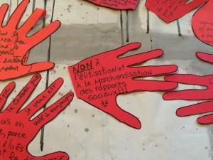 Détail de la bannière de la Coalition montréalaise pour la survie des services publics