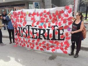 tractage dans le Village après l'assemblée de la coalition montréalaise pour la survie des services publics
