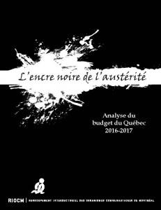 analyse du budget du Québec 2016-2017